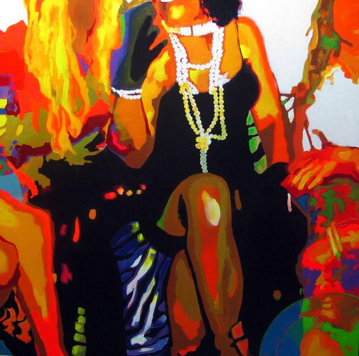 Cabaré. Acrílico sobre tela. Acrylic on canvas 100x100cm  #art #artists #canvas #pencil