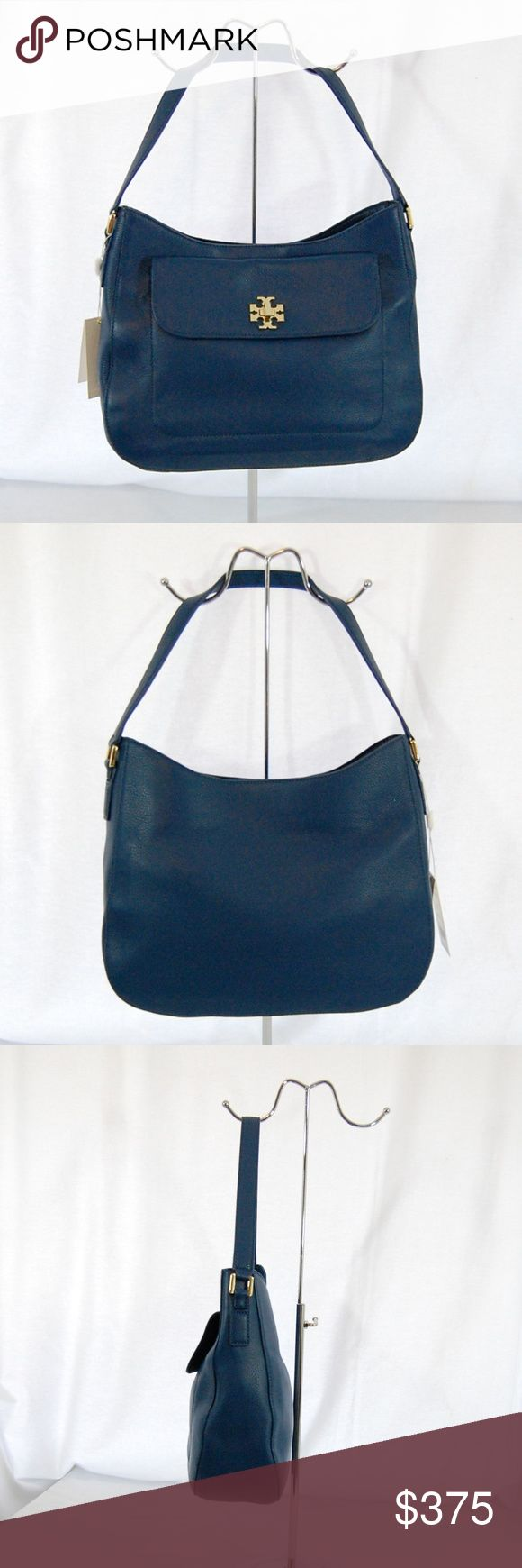 "NWT: Tory Burch Mercer Slouchy Hobo (Blue) Brand new with tags! Beautiful blue color called ""Tidal Wave""  ""Mercer Slouchy Hobo"" - single strap. Exterior pocket with a turn lock closure (in signature T logo in gold). Interior wall zip pocket, 2 slip pockets, and 1 snap close pocket. Spacious with some structure to it so you can find what you need.  Single snap top closure at the top.  Approximate measurements (taken stuffed): Length = 13"" Height = 9.5-11"" (lowest to highest points) Width = 4""…"