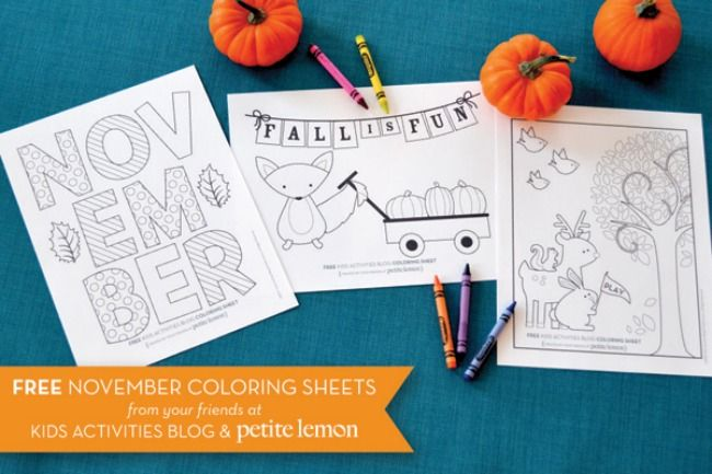 Darling November coloring sheets. Perfect for the kids table on Thanksgiving!