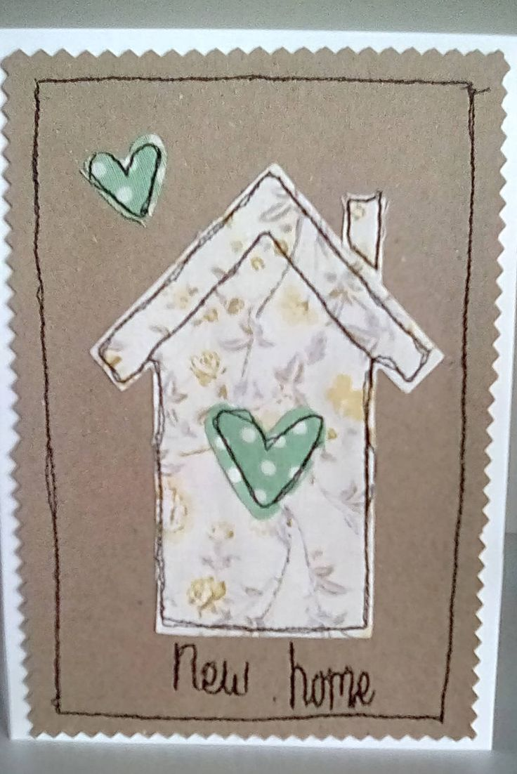 New home Welsh card. Free motion Cath Kidston fabric applique by Milliesmarket on Etsy
