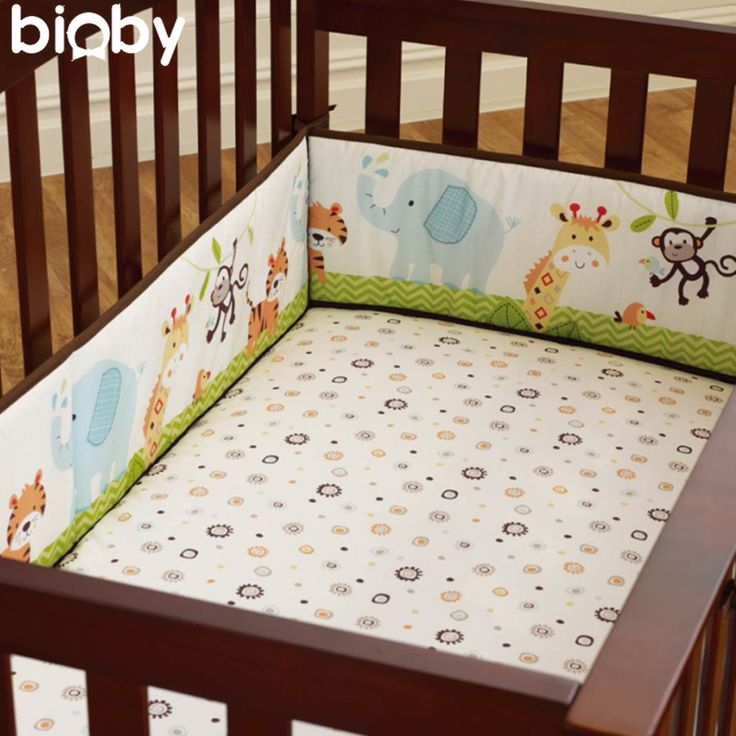 Large 4Pcs Cotton Baby Infant Cot Crib Bumper Safety Protector Toddler Nursery Bedding Set Infantile Cushion Pad Baby Care