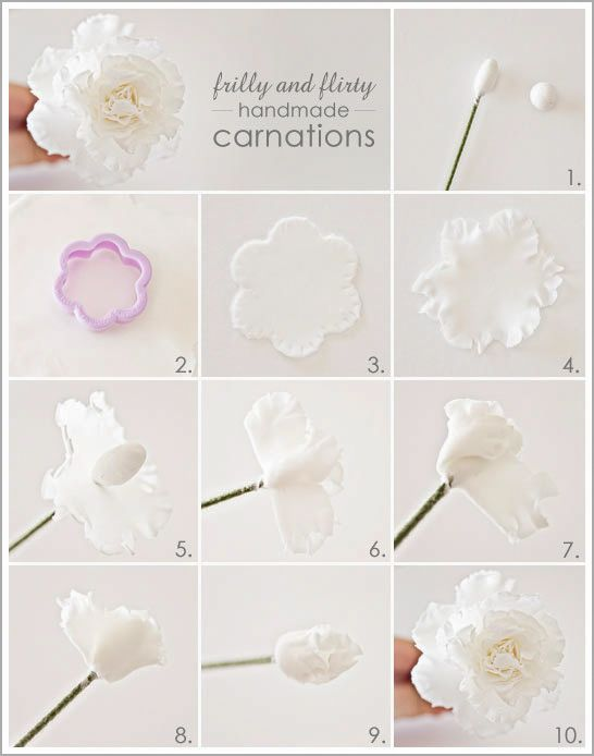 DIY: Frilly Handmade Carnations    Gumpaste Carnation Tutorial on Half Baked.....roses, carnations, ranunculus, and gardenias out of gumpaste displayed on the cake.