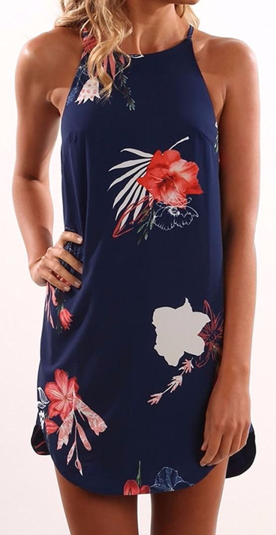 Halter navy dress decorated with floral print to upgrade your look