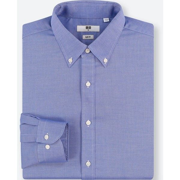 UNIQLO Men's Easy Care Oxford Stretch Slim-fit Long-sleeve Shirt ($30) ❤ liked on Polyvore featuring men's fashion, men's clothing, men's shirts, men's casual shirts, blue, mens blue shirt, mens slim shirts, mens evening shirts, mens blue oxford shirt and mens holiday shirts