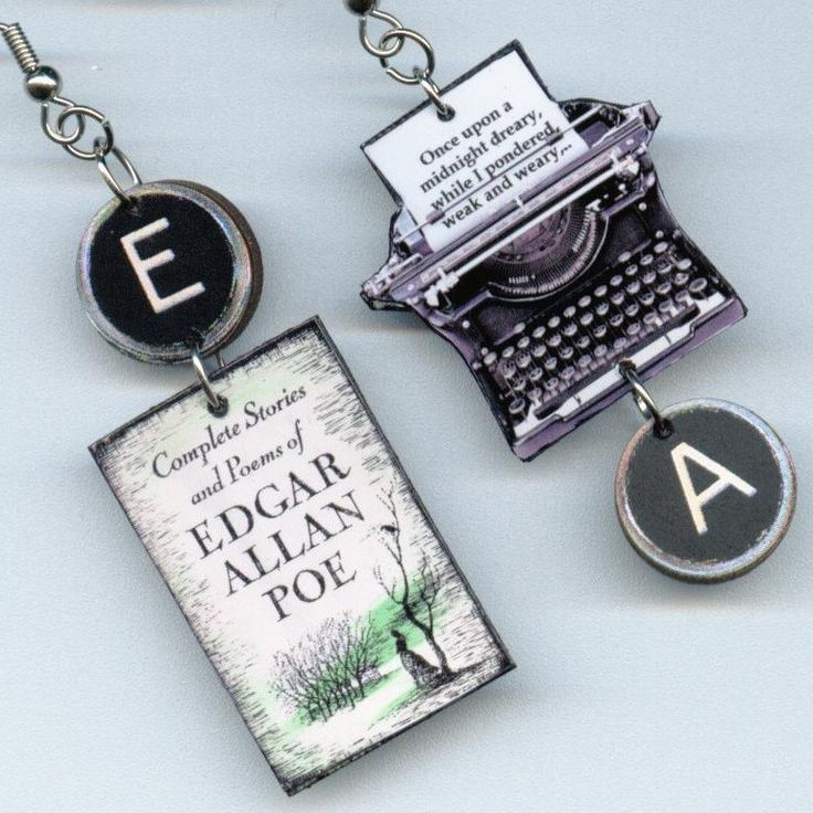 Edgar Allan Poe Earrings Vintage TYPEWRITER book cover.