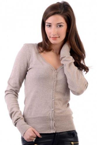 Stone color Cardigan med v-hals og knapper i fronten.  Inneholder 60% bomull og 40% viskose.