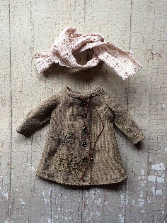 Linen Parka Coat for Blythe - butterfly set