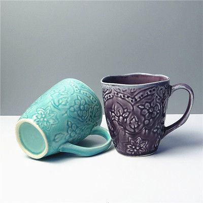 Beautiful Elegant Carved Ceramic Glazed Coffee Mugs 3 Colors