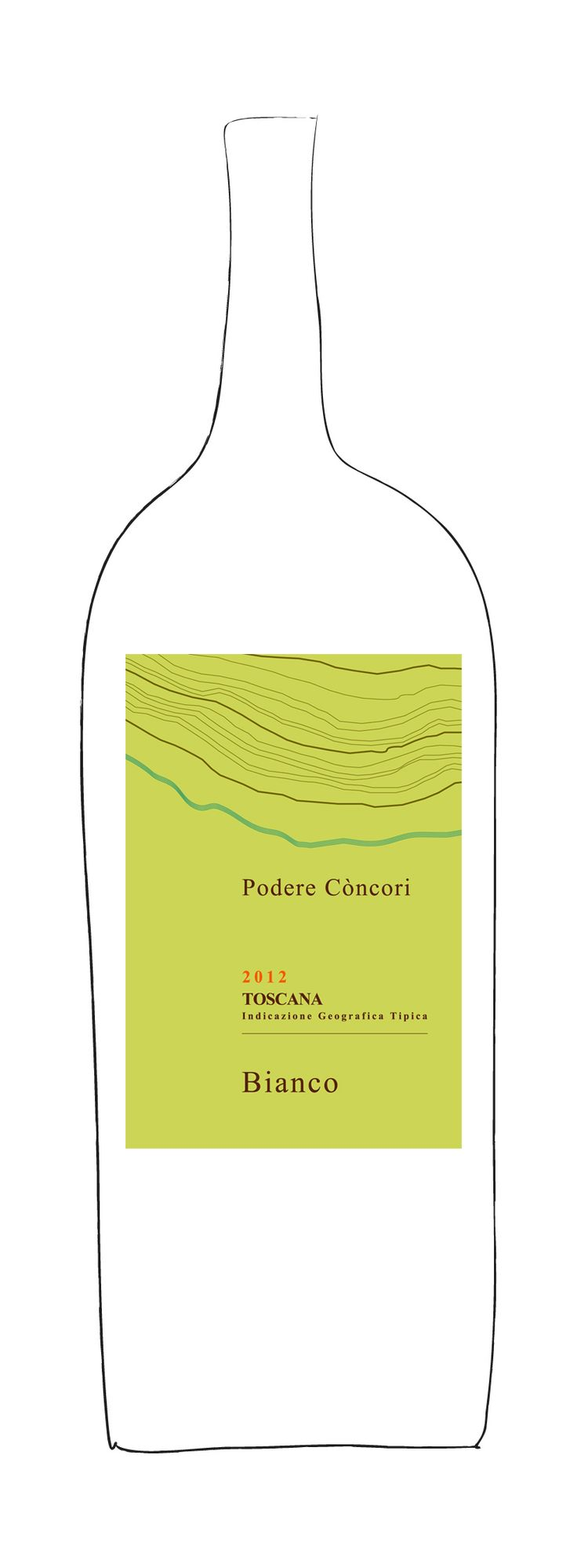 Bianco 2012, Podere Concori - The constant breeze blowing from the Apennines and the specific soil composition, marked by sand and shale, make of this wine an authentic expression of our land, reminiscent of Loire valley white wines for its acidity, freshness and elegance. Grape varieties: Pinot Blanc (60%), Chenin Blanc (40%).