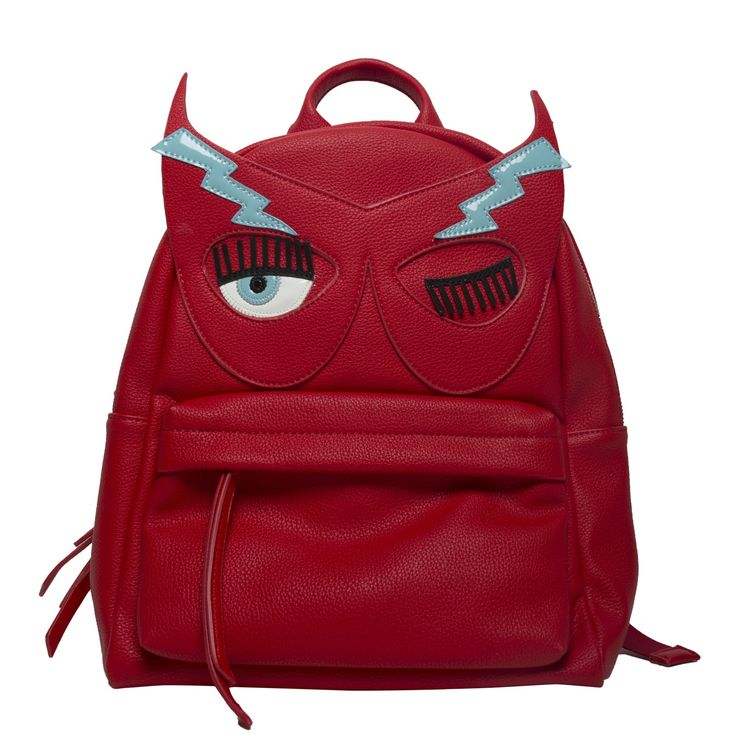 """Red leather backpack with printed patent """"Flirting"""" embroideries"""