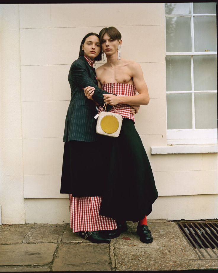 Where Do We Go From Here - Teeth Online x Teeth Magazine  Photographer: Pakbae Stylist: Yeon You Beauty: Jinny Kim Stylist Assistant: Jaewoo Shin Models: Clarice at Next, Kai at Models1  On Clarice: Jacket: Imogen Wright, Wrap Skirt: Hanger, Top and Trousers: Marques'Almeida, Bag: Orla Kiely, Shoes: Toga Virilis.  On Kai: Top: Marques'Almeida , Bottom: XIAO LI, Earrings: Sophie Cull-Candy, Shoes: Toga Virilis