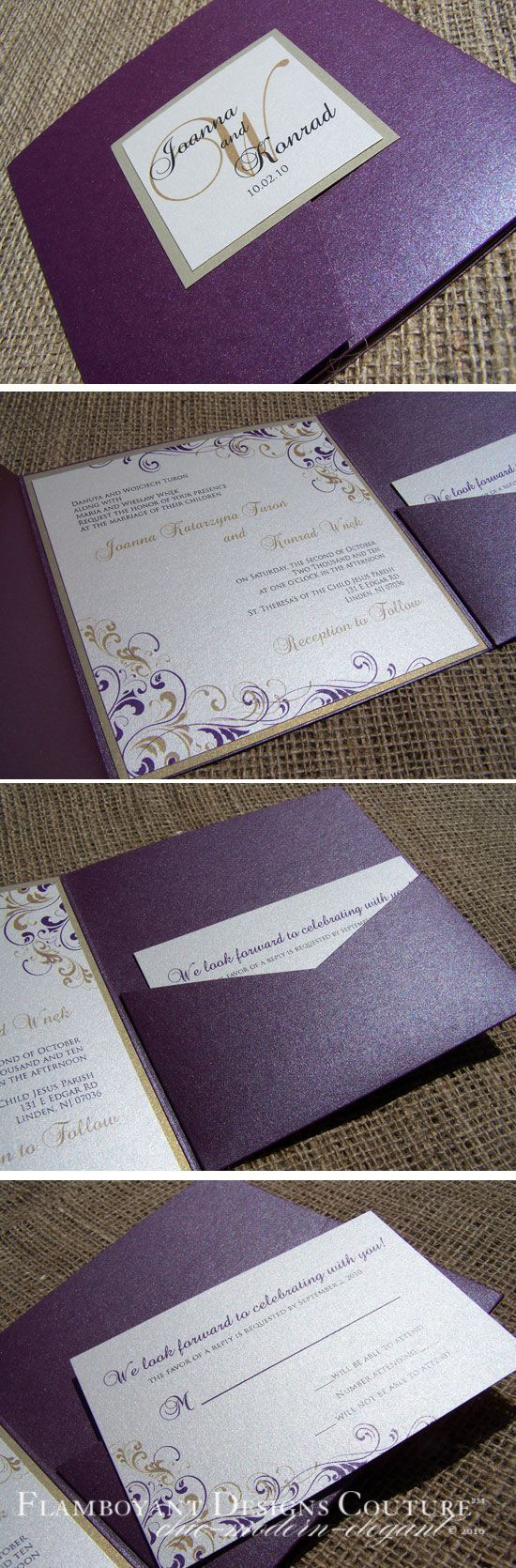 casual evening wedding invitation wording%0A Plum and Gold Pocket Fold Invitations  The Wedding Chicks I need to find  who makes