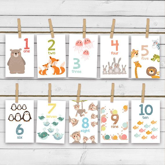 ♥ Cheerful Number animal flash cards, full with handdrawn animals. Not only colorful and fun but also educational. A great way to learn numbers