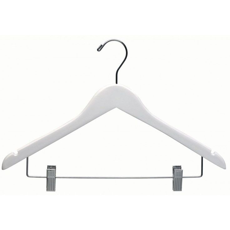 White Wooden Combo Hanger with Clips (Case of 25) (White Wooden Hanger with Clips Box of 25) (Chrome)