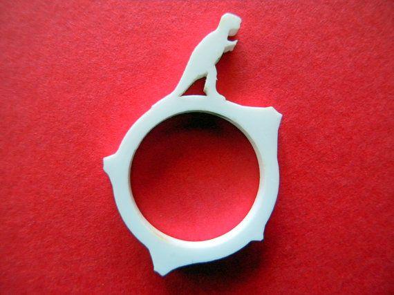 Tyrannosaurus rex ringlaser cut acrylic ringfunny by LOHNjewelry