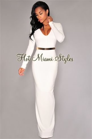 Off-White Long Sleeves Belted Gown Womens clothing clothes hot miami styles hotmiamistyles hotmiamistyles.com sexy club wear evening  clubwear cocktail party kim kardashian dresses