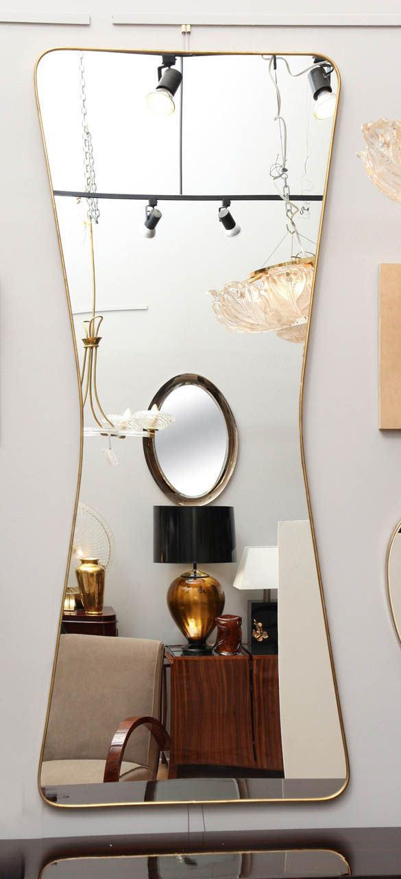 """Elegant """"Silhouette"""" Modern Mid-Century Wall Mirror 