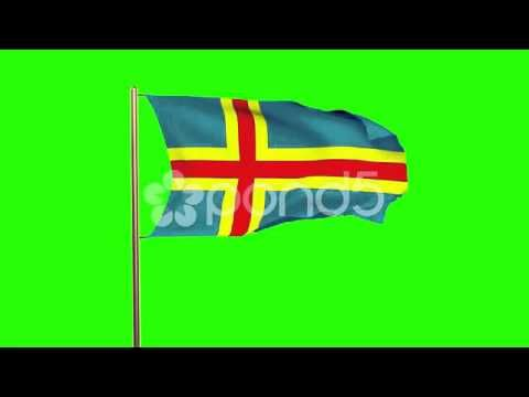 Aland Islands Flag Waving In The Wind. Green Screen, Alpha Matte. Loopable