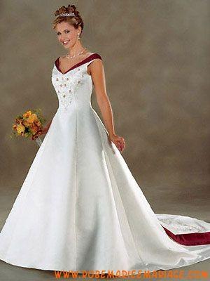 Robe grande taille 2012 avec traîne broderies blanche robe de mariée satin
