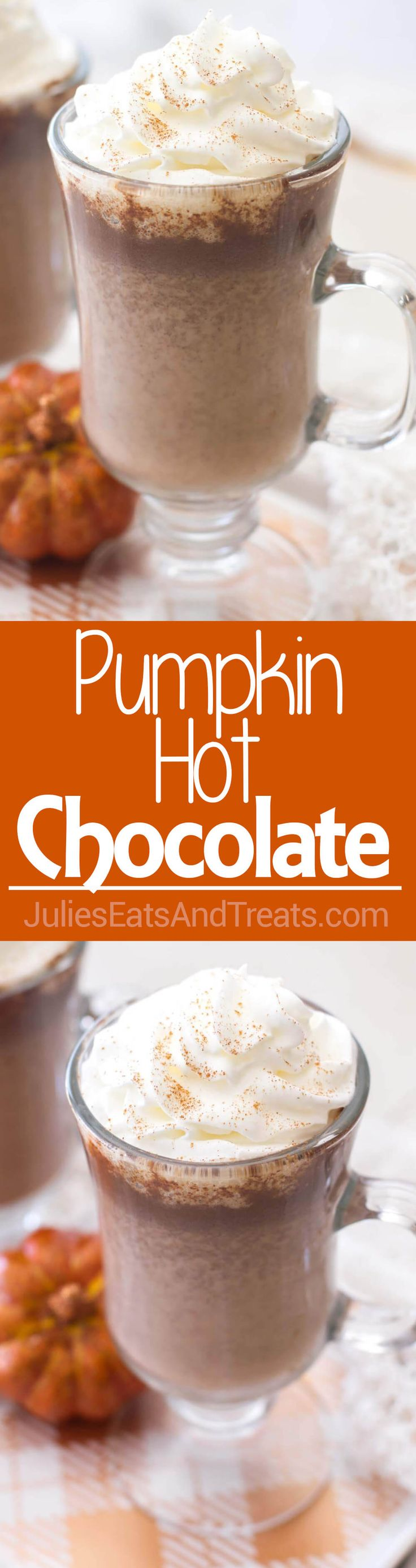 Pumpkin Hot Chocolate ~ Homemade Pumpkin Hot Chocolate Recipe Uses Real Pumpkin Puree and Pumpkin Pie Spices to Add a Fall Spin to a Classic Drink! via @julieseats