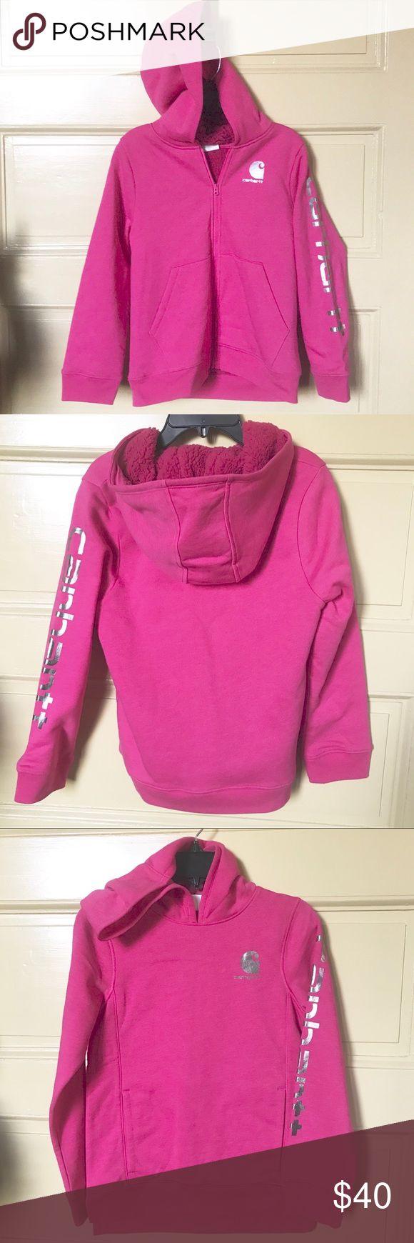"Carhartt hot pink heather sherpa zip hoodie M NWOT Carhartt magenta hot pink heather sherpa zip hoodie M Chest 17"", Length 22"" Hooded fleece jacket w/sherpa lining & front pockets. Metallic silver left arm & chest silkscreen branding  Authorized-to-sell sales sample Smoke Free Home 🏠 Carhartt Shirts & Tops Sweatshirts & Hoodies"