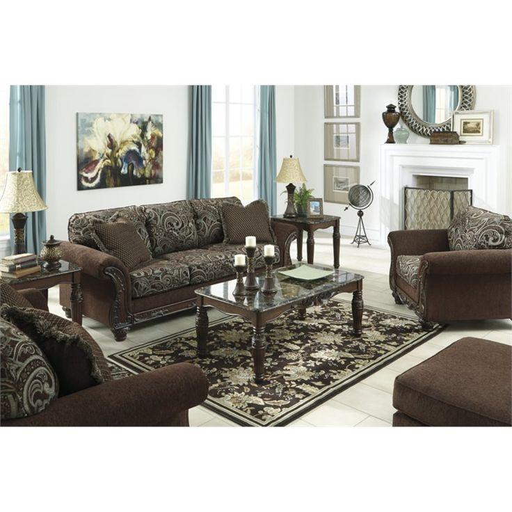 Emelen Contemporary Alloy Fabric Nailheads Sofa