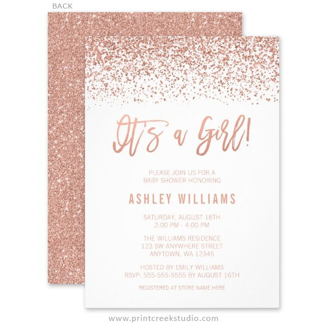 Chic faux rose gold glitter girl baby shower invitations.