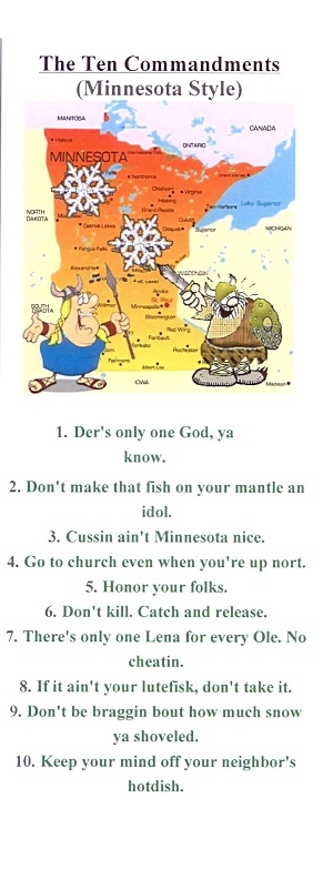 Minnesota Commandments-these are quite humerous