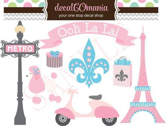 8 Precut Peel & Stick Vinyl French Paris Girls by decalCOmania100, $16.95