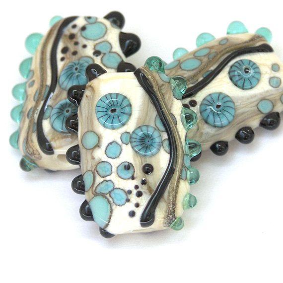 turquoise tango handmade lampwork glass bead set by sarah hornik