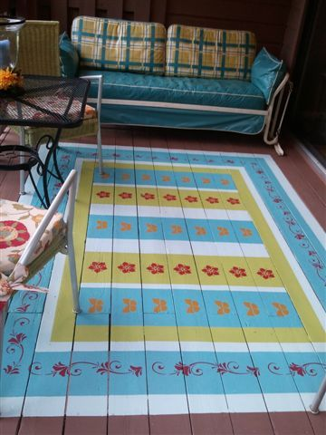 How to paint an area rug with stencils on an outside deck — Linda Spry Design Interiors