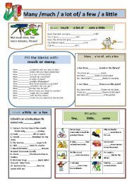 English worksheet: many or much