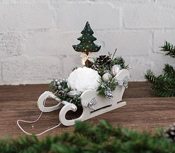 Christmas sleigh with textile christmas tree with candle/ winter white sled/ wooden sled decor/ sleigh santa/ christmas candle holder