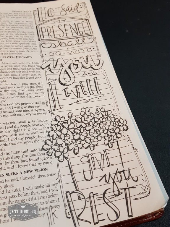 Sweet To The Soul Ministries - 30 Days of Bible Lettering July - Exodus 33:14