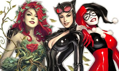 Ivy, Catwoman and Harley Quinn-- greatest female villains of all time