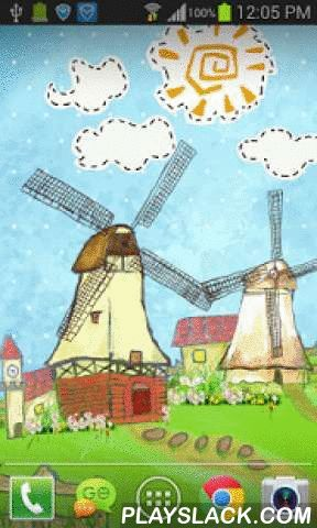 Cartoon Windmill LW FREE  Android App - playslack.com , Hand-painted Cartoon Windmill Live Wallpaper FREE (PRO):This is a free live wallpaper, which is about the hand-pained cartoon windmill. You will find that they are display in the Grassland and in your phone screen. You will find that the wallpaper dispaly some flower, a cow, some houses. And you will find the blue sky of the day and the night, stars, sun. All these display make the wallpaper display so beautiful. The windmill would…