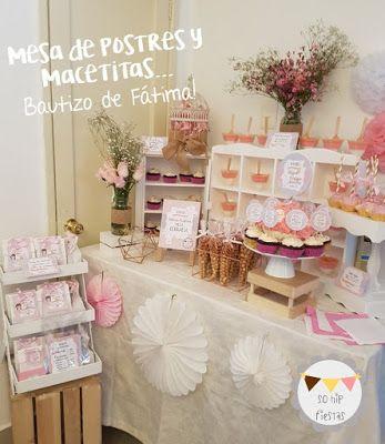 El bautizo de Fátima - mesa de postres y macetitas #mesadepostres #dessertstable #bautizo