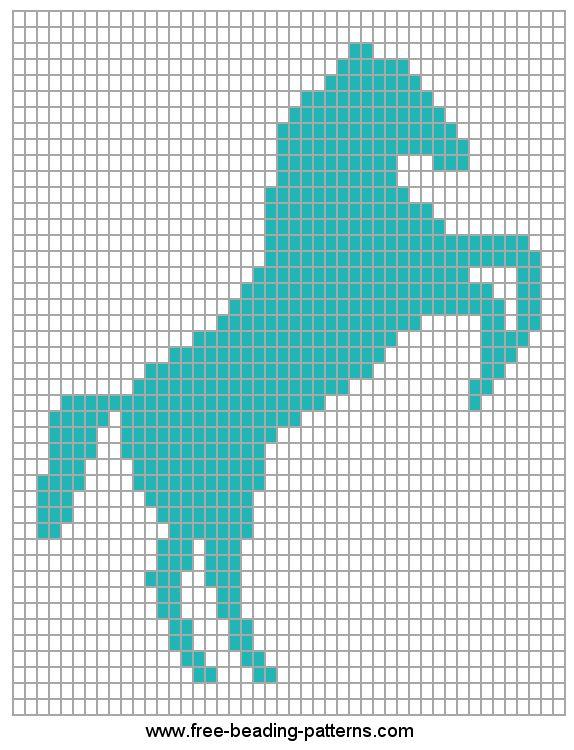 Horse Rampant beadwork design - free pattern