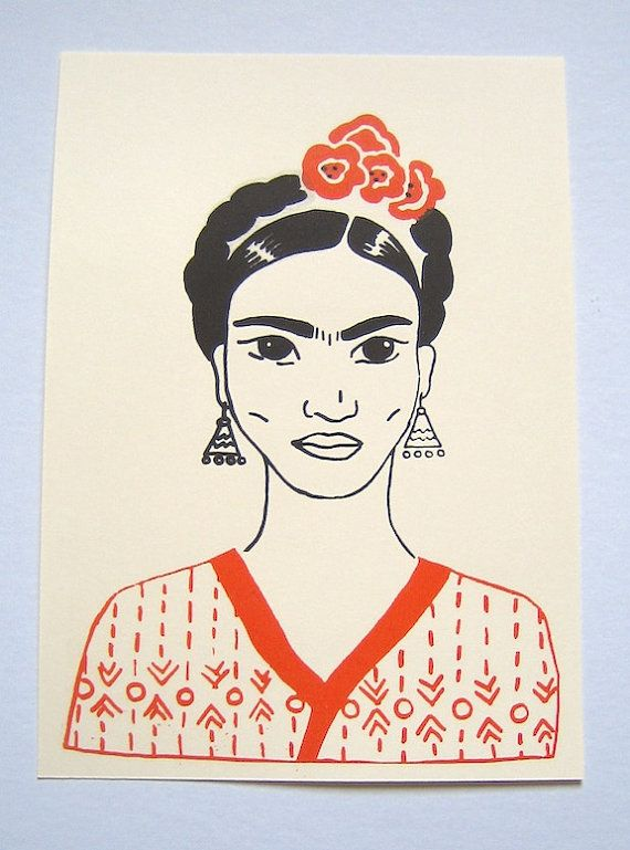Frida Kalho/Small poster screen printed Orange and black by LatelierdEloiseS, €5.50
