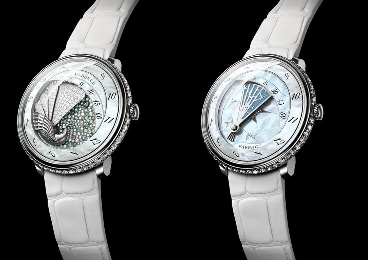 Fabergé chose a different way to present mother of pearl in a watch, and you can see it in these carved mother-of-pearl leaves that are both on the dial and around the diamond bracelet. The watch is called Summer in Provence and it evokes a sensation of a hot lazy summer's day in the south of France. The clever use of materials and color is very typical of Fabergé, and it reminds us of those famous Easter eggs with different layers of enamellings and colored gemstones.