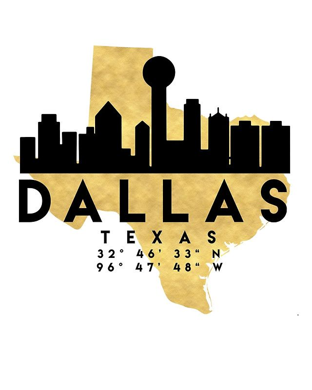 DALLAS TEXAS SILHOUETTE SKYLINE MAP ART -  The beautiful silhouette skyline of Dallas and the great map of Texas in gold, with the exact coordinates of Dallas make up this amazing art piece. A great gift for anybody that has love for this city.  dallas texas downtown silhouette skyline map coordinates souvenir gold