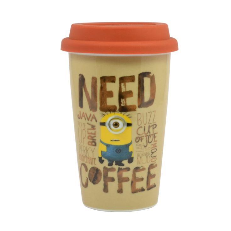 minions need coffee travel mug with silicone lid thumbnail 1 - Coffee Travel Mugs