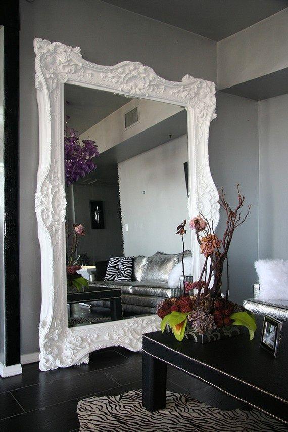 Love Big Mirrors...Decor, Ideas, Floor Mirrors, Huge Mirrors, Grey Wall, Living Room, Bedrooms, Floors Mirrors, Mirrors Mirrors