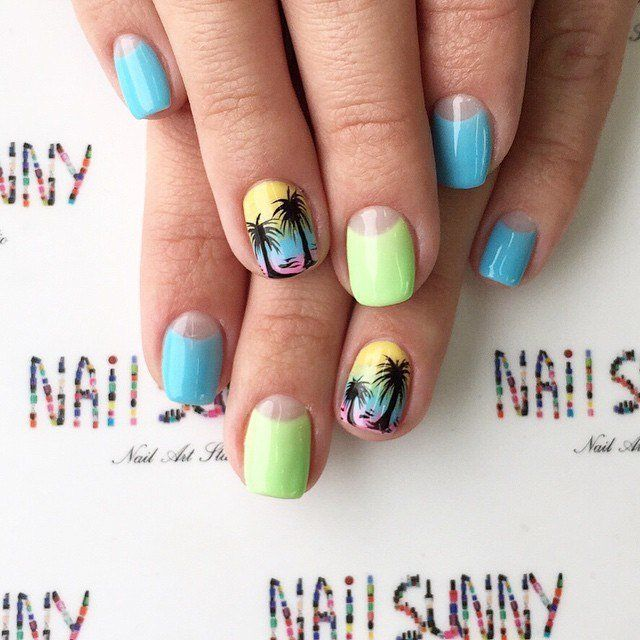 It is truly summery nail design, which is perfect for a trip to the sea. Bright colors are always improve ...