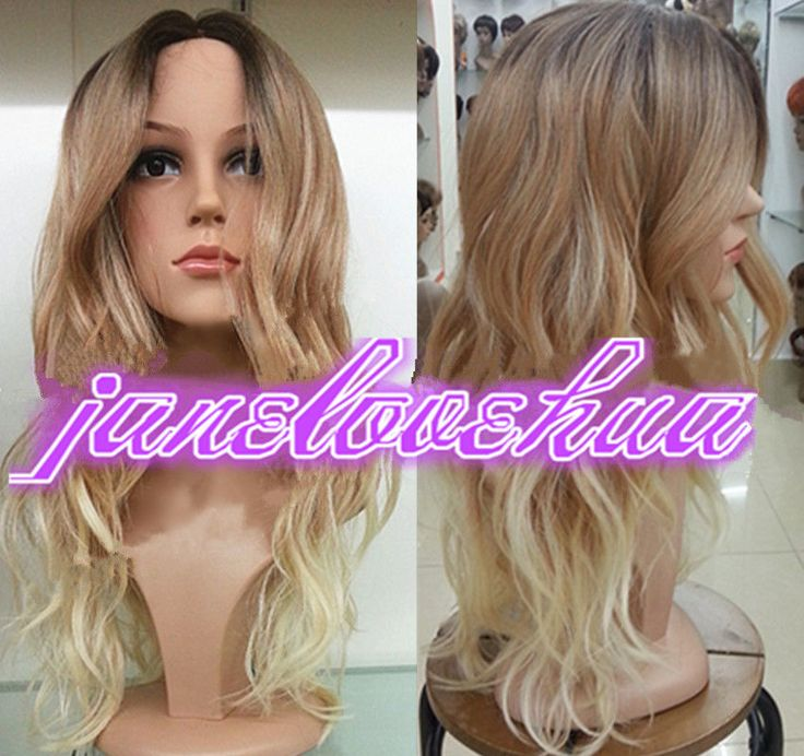 Ladies Front lace Wigs Curly Long Wavy hair brown Golden Blonde mixed wig #FullWig