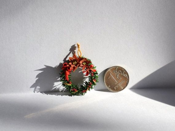 Dollhouse miniature Christmas wreath, Dolls House wreath , Scale 1 12, scale one inch, miniature Christmas, Dollhouse Christmas wreath. handmade! 1:12th Scale.  Not a toy, only for adult collectors!  The brightness and shade of the colors may be slightly different from what you see on the screen of your computer. It will be well packaged and sent by air Russian Post. I combine shipping! If you have any questions please email me. Thank you for your attention, good shopping) Thank you for…