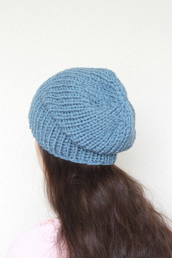 d1f1430a5f6 Knit beanie hat, slouchy hat. Simple minimalistic design makes it perfect  for both men and women. You can wear it as slouchy hat, or as a winter hat  with ...