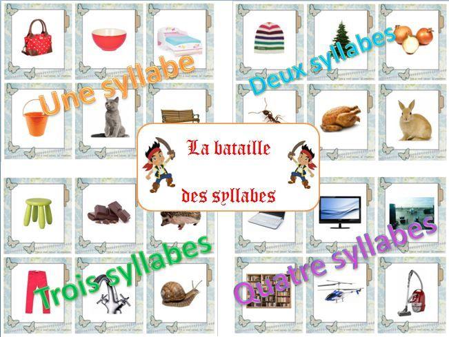 La bataille des syllabes. Jeu de bataille sur le nombre de syllabes contenues dans les mots. Réalisé uniquement à l'aide de photos pour permettre une meilleure perception.