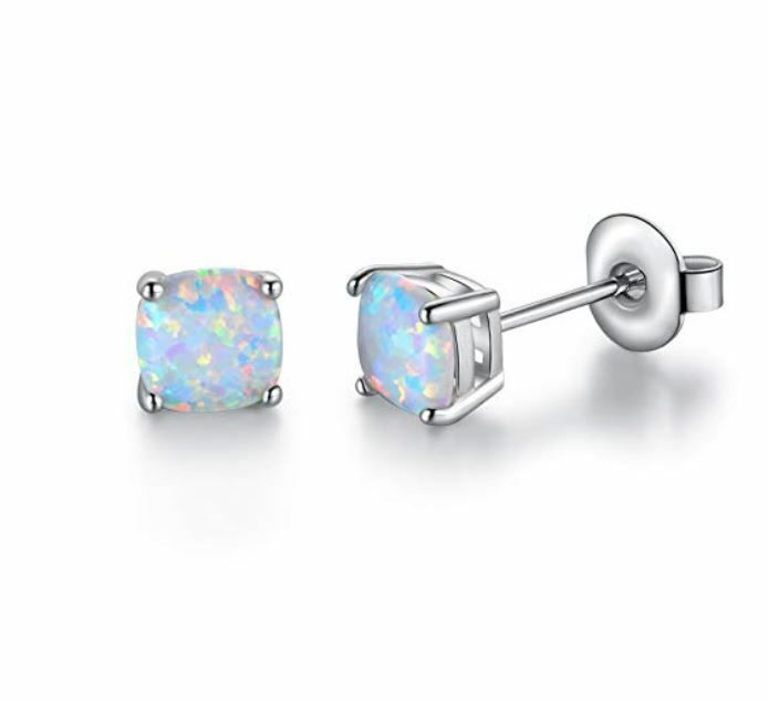 ee15892cb Opal Stud Earrings - 18K White Gold Plated. Primary stone: synthetic lab  created white opal.