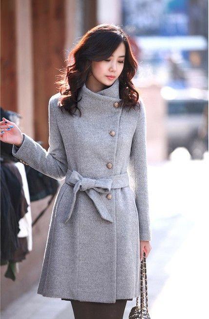 Turn-down Collar OL Style Slim Wool Long Coat With Belt on